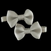 Grijs strik haarspeldje handgemaakt 4 cm