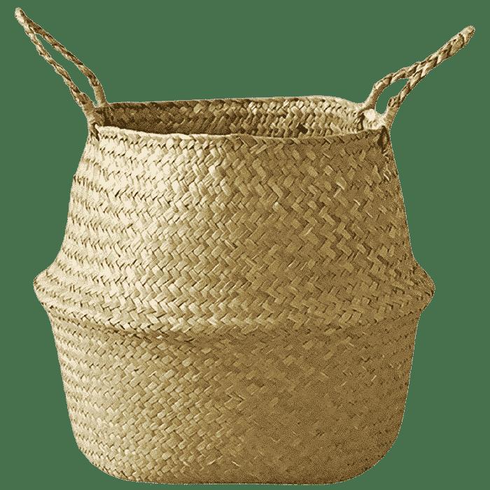 Handgemaakte zeegras manden