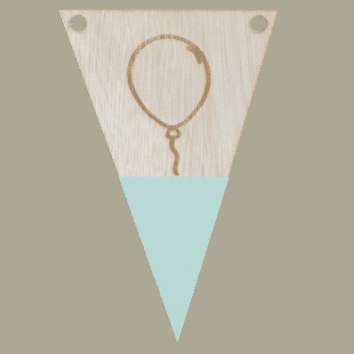 Balonvlag met punt in kleur gegraveerd