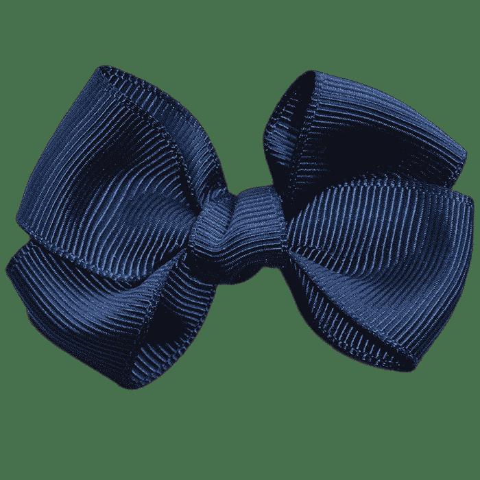 Donker blauwe strik groot klipje handgemaakt 6 cm