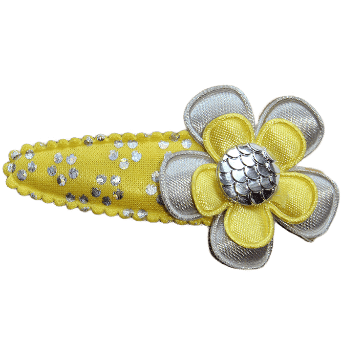 Geel haarspeldje met bloem handgemaakt 6 cm