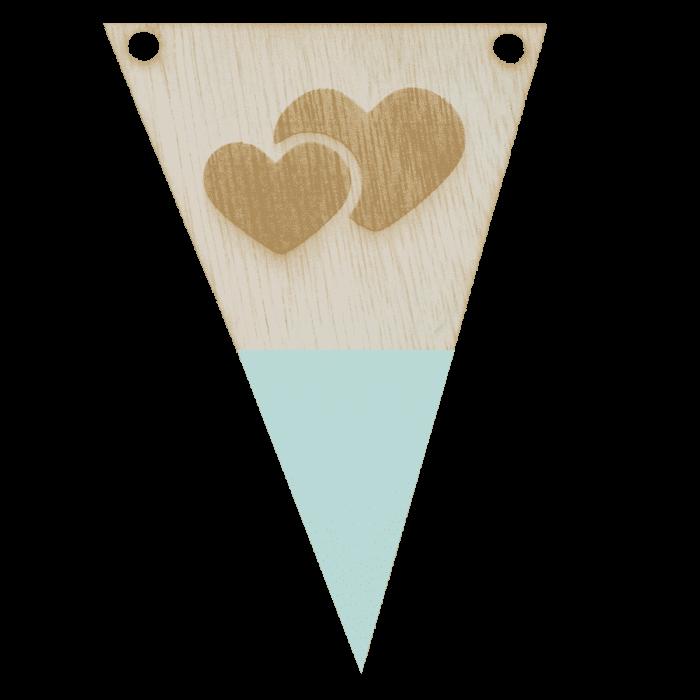 Hartenvlag met punt in kleur gegraveerd