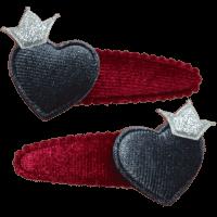 Hartje kroon speldje rood handgemaakt 6 cm