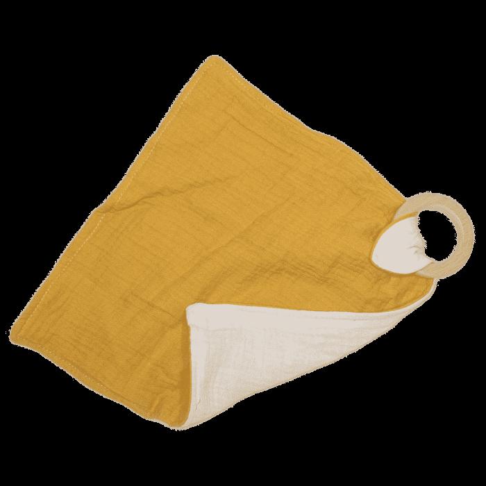 Knuffeldoek met bijtring oker geel