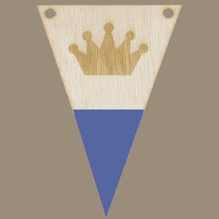 Kroonvlag met punt in kleur gegraveerd