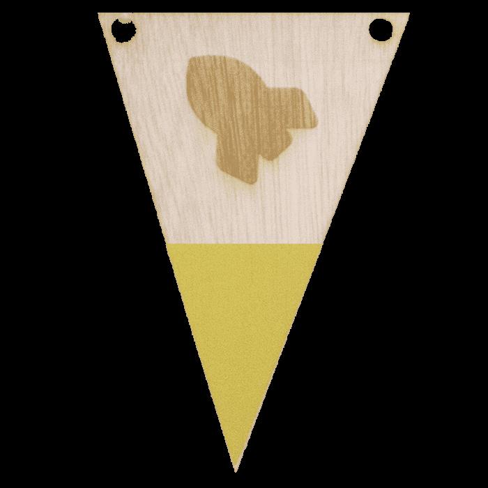 Raketvlag met punt in kleur gegraveerd