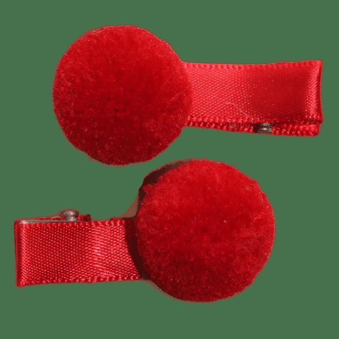 Rood pompon speldje handgemaakt 4 cm