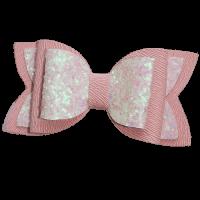 Roze glitter strik speld handgemaakt 7 cm