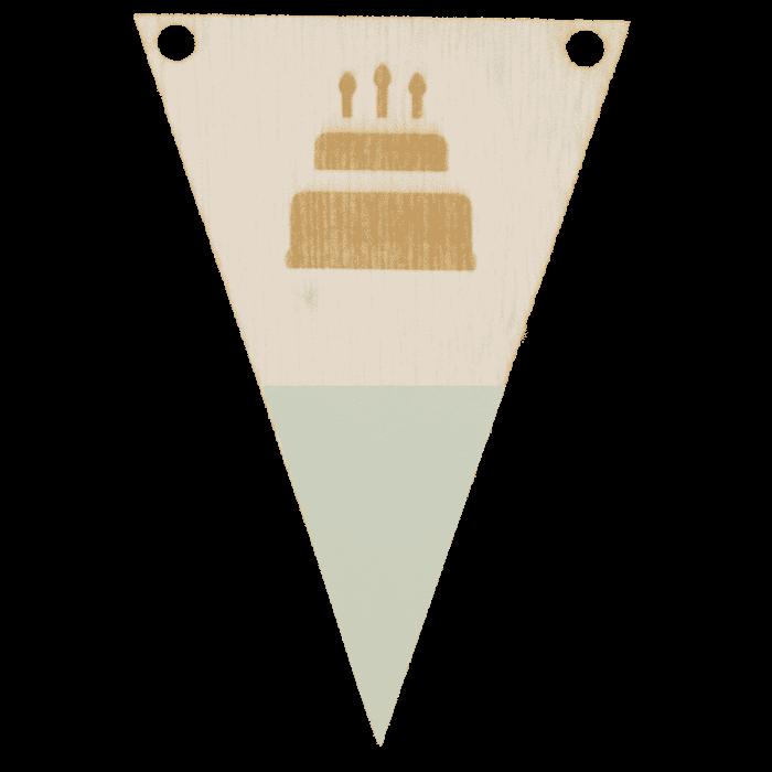 Taartvlag met punt in kleur gegraveerd