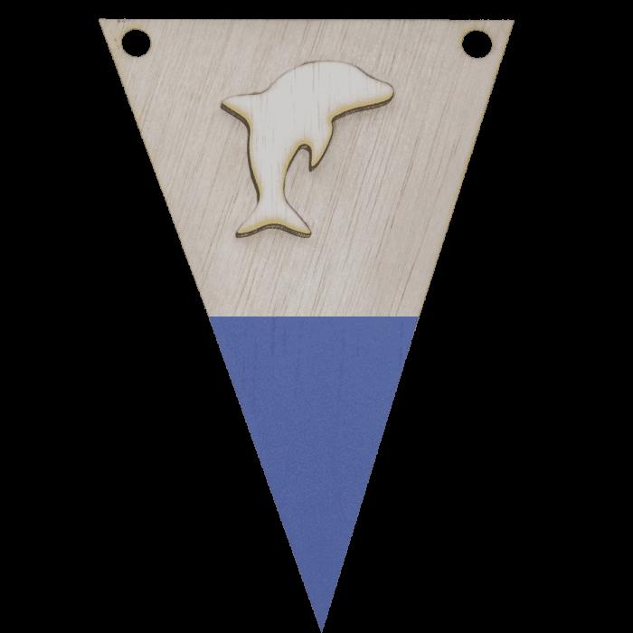 Dolfijnvlag met punt in kleur 3d