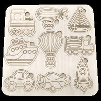 Houten voertuigen inlegpuzzel