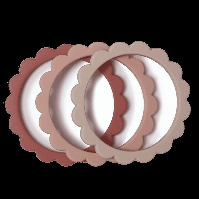 Mushie bloem bijtring armband Rose-Blush-Sand