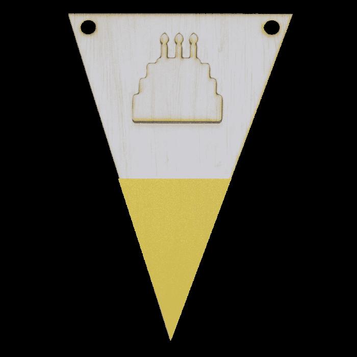 Taartvlag met punt in kleur 3d